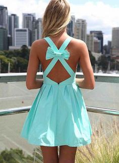 Blue Sleeveless Mini Dress with Open Cross Bow Back. Bridesmaids dresses :) but I'd rather it go to the knee