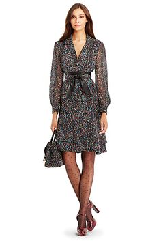 DVF Catherine Chiffon Shirt Dress In Femme Tweed Multi