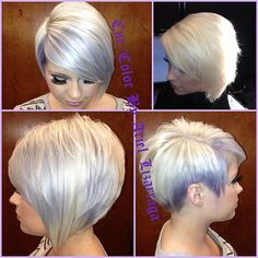 """Platinum & Lavender bob by stylist/colorist Ariel Lizarraga (Top right pic is the """"before"""") Short Hair Cuts For Women, Girl Short Hair, Short Hair Styles, Kenra Hair Color, Lavender Hair, Lavander, Love Hair, Great Hair, Platinum Blonde Hair"""