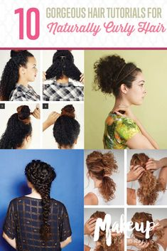 Cute Hairstyles Long Curly Hair For Prom - 10 easy hairstyle tutorials for naturally curly hair Easy Curly Updo, Hairdos For Curly Hair, Curly Hair Styles Easy, Short Curly Hair, Short Hair Styles, Thick Hair, Medium Curly, Hair Updo, Wavy Hair