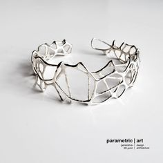 voronoi cuff 3d printed luxurious generative bracelet in sterling silver