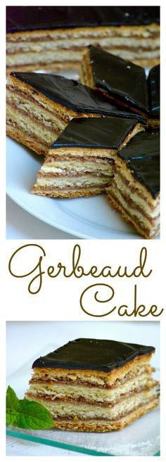 Hungarian Gerbeaud Cake (Zserbó szelet) is probably the best known Hungarian dessert. A wonderful and delicious homemade layered cake with walnut and apricot jam filling, covered with chocolate. Hungarian Desserts, Hungarian Cake, Hungarian Recipes, Hungarian Food, Hungarian Cookies, Romanian Desserts, Sweet Recipes, Cake Recipes, Dessert Recipes