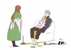 PruHun and Germany family...are those Gilbird slippers that Prussia is wearing?! :D