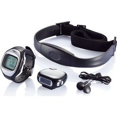 Jogging Set.  Set including FM radio pedometer with headset and heart rate monitor, watch with accurate wireless pulse measuring,visual and audio alert, user profile like gender, weight, exercise intensity and target heart rate percentage. Watch has calendar, stopwatch, 2 countdown timers, alarm and waterproof up to 30 meters. #fitness #health #promo