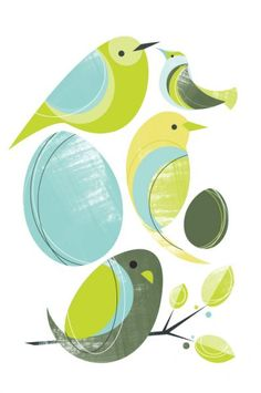 "Print ""Harmony Birds"" in green and blue by Brian Andrew Jasinski"