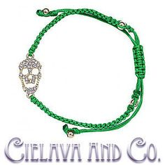 The featured bracelet showcases finely crafted brass skull encrusted with cubic zirconia crystals and finished with macrame style bracelet adjustable to fit just about all wrist sizes