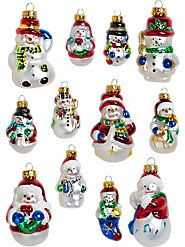 Old Fashioned Santa Snowman Glass Ornament Set Box Of 12