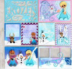 Frozen Premade Paper Piecing 12 x 12 Scrapbook Project Life Journal Cards | eBay