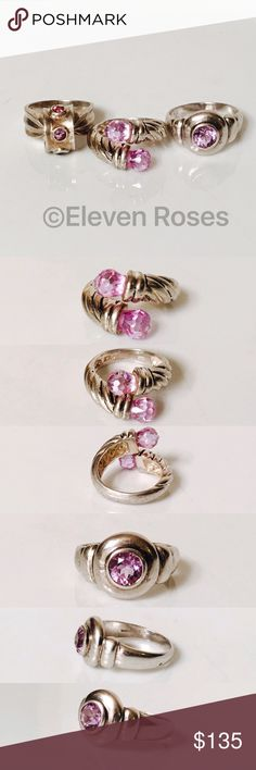 Lot of 3 Assorted Sterling Silver Amethyst Rings Lot of 3 Assorted Purple Stone Rings - 925 Sterling Silver - Assorted Sizes - Assorted Styles - Assorted Stones (mostly purple) - All Hallmarked 925 (Sterling Silver) -  Preowned / Preloved  💕 May Show Slight Signs Of Having Been Worn.   📷  Listing Images Are Of Actual Item Being Offered.  ***Free Ting Sizing Tool With Purchase (As shown in last image)*** Jewelry Rings