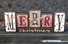 Christmas wood blocks-Merry Christmas VINTAGE by jjnewton on Etsy