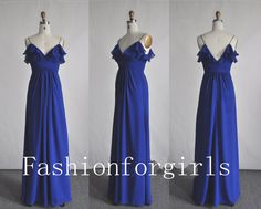 2013 A Line Straps Long Chiffon Royal Blue Bridesmaid Wedding Party Prom Evening Dresses