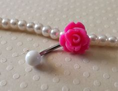 Rose Brigh Pink Belly Ring 14ga Navel Ring Stainless Steel Body Jewelry