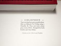 Specimen Book — Colophon