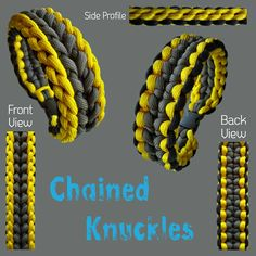 Chained Knuckles Paracord Tutorial, Paracord Knots, Paracord Ideas, Paracord Projects, Paracord Bracelet Designs, Bracelets Design, Paracord Bracelets, Jewelry Design, Make Your Own Bracelet