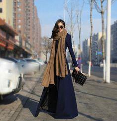 Luxury-Womens-Wool-Blend-Floor-Length-Winter-Autumn-Slim-Dress-Long-Maxi-Coat-Sz