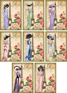 Vintage inspired Eiffel Tower Paris fashion ATC altered art tags cards set of 8