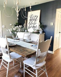 Something old, something new, something borrowed, something blue. this works for decorating too, right? We love how balances her vintage chairs with our Kensington table 💛 Decor, Room Design, Dining, Farmhouse Dining Room, Dining Room Design, Home Decor, Dining Room Decor, Living Room Designs, Shabby Chic Kitchen