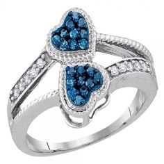 0.25 Carat (ctw) 10k White Gold White and Blue Diamond Bridal Split Shank Double Heart Promise Ring 1/4 CT *** Discover this special product, click the image : Promise Rings Jewelry