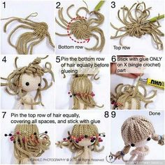 Парик или прическа для вязанной и текстильной куклы / Как сделать кукле волосы, парик для куклы своими руками / Бэйбики. Куклы фото. Одежда для кукол