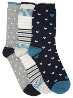 Heart spot and stripe socks three pack
