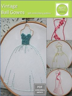 Vintage Ball Gowns Set PDF Embroidery Patterns by aprilmoffatt. $6.00, via Etsy.