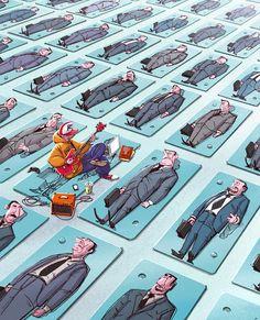 Michal Dziekan, il nous montre sa vision de la société dans des illustrations