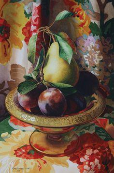 http:/ www.artistsnetwork.com Still Life Painting, Gold-rimmed Bowl. Artist, Karin Isenurg.