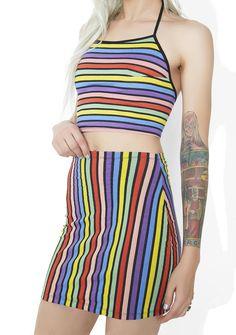 Motel Fonda Mini Skirt let'z get fit 'N trim, bb! This dope mini skirt features a vertical rainbow stripe construction that grips yr bod, high waist, and a snug micro hemline that'll tantalize 'em~