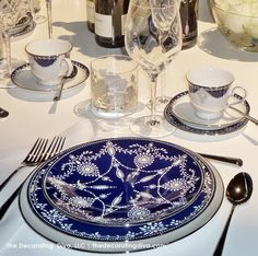 Elegant Tabletop: Blue White Silver China Marchesa for Lennox | The Decorating Diva, LLC