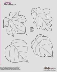 Nice templates for leaves! Mollie makes, Felt Leaf Template--cut out of craft foam to make stamp or embossing plate. Felt Patterns, Applique Patterns, Craft Patterns, Paper Flower Patterns, Pattern Ideas, Felt Flowers, Fabric Flowers, Paper Flowers, Paper Butterflies