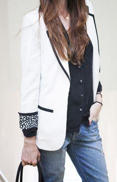 Lovers + Friends x Because I'm Addicted blazer, Paige jeans, J.Crew blouse, Joie flats, Celine bag, Ariel Gordon necklace.