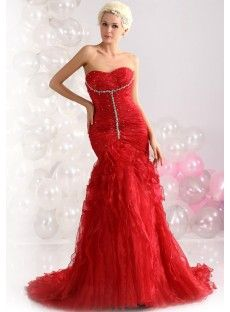 Red Natural Organza Mermaid Evening Prom Dress