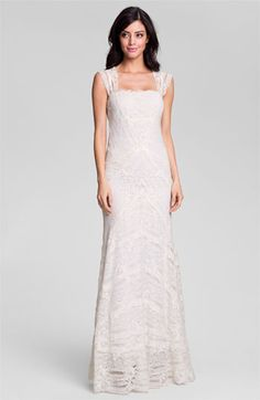 Nicole Miller Cap Sleeve Lace Gown available at Nordstrom