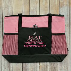 I Beat Cancer What's Your Superpower Tote Bag by mycousinmadeit