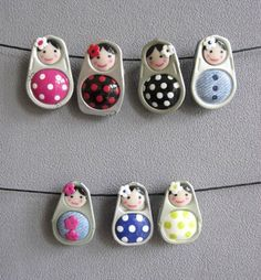 I love these fimo ring pulls. I've not tried them and they look really fiddley (so lots of practice first). ( I think that they are Fimo with faces painted on). Pop Tab Crafts, Soda Can Crafts, Arts And Crafts, Soda Can Art, Fimo Ring, Polymer Clay Ring, Fimo Clay, Pop Can Tabs, Matryoshka Doll