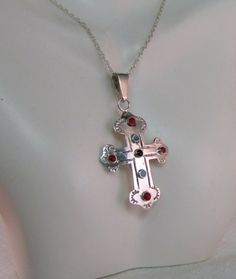 Taxco Sterling Southwestern Cross with Coral by newoldjewels