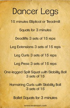 Workout plan to get long, lean legs... #dancer #legs #workout