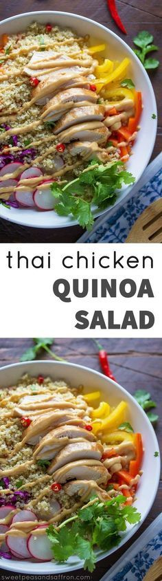 Thai Chicken Quinoa Salad with the creamiest peanut dressing!  A perfect recipe for a lunch or dinner.