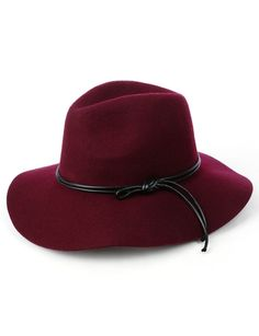 LE3NO Womens Floppy Wool Faux Leather Cord Fedora Hat Beanie Hats ed9ef4e15ccd