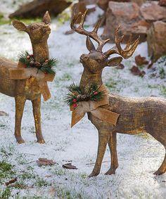 Look at this #zulilyfind! Golden Reindeer Statue Set by Evergreen #zulilyfinds