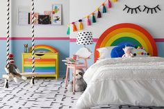 rainbow furniture bed headboard chest of drawers kids room decor ideas Childrens room Rainbow Bedroom, Rainbow Bedding, Rainbow Room Kids, Rainbow Nursery, Rainbow Girls Rooms, Bright Nursery, Rainbow House, Rainbow Wood, Kids Bedroom Furniture