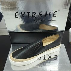 Women's Perforated slip-on casual sneaker Black Perforated casual sneaker shoe size 9 Extreme by Eddie Marc  Shoes Flats & Loafers