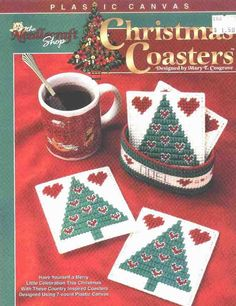 Christmas Coasters 1/2 Christmas Coasters, Christmas Napkins, Christmas Crafts For Gifts, Christmas Cross, Christmas Tree, Plastic Canvas Coasters, Plastic Canvas Crafts, Plastic Canvas Patterns, Holiday Baskets
