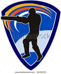 vector illustration of a cricket sports player batsman silhouette batting set inside shield - stock vector #cricketworldcup #retro #illustration