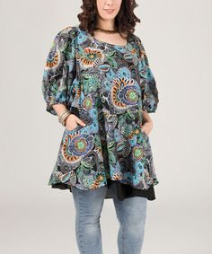 Take a look at this Blue Abstract Blouson-Sleeve Tunic - Plus on zulily today!