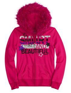 Glitter Graphic Sweatshirt With Faux Fur Hood | Jackets | Sweatshirts | Shop Justice