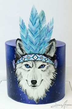 Magic wolf cake by Soraia Amorim - Cake Decorating Cupcake Ideen Sweet Cakes, Cute Cakes, Dog Cakes, Cupcake Cakes, Native American Cake, Wolf Cake, Nature Cake, Indian Cake, Fantasy Cake