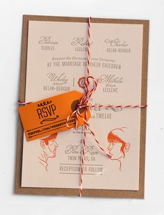 These charming, modern wedding invitations with earthy fall elements set the mood for Wesley and Mishelle's October wedding through color palette, paper and printing texture. Baker's twine was a nice touch, making the invitation look like an old-fashioned parcel. — Duncan Robertson