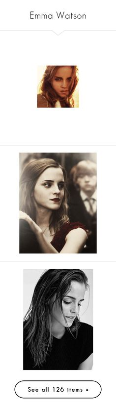 """Emma Watson"" by erintheartbtch ❤ liked on Polyvore featuring emma watson, people, harry potter, backgrounds, faces, icons, pictures, models, celebrities and costumes"