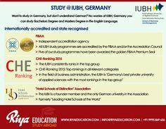 Study @ IUBH , Germany !!! Want to study in Germany, but don't understand German? No worries at IUBH, Germany you can study Bachelors Degree and Masters Degree in the English Language. Visit our website for details.